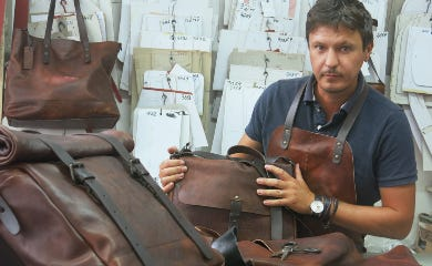Leather Bags being made in the factory
