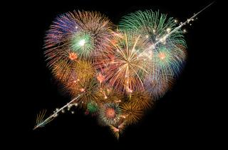 Firework display in the shape of a heart