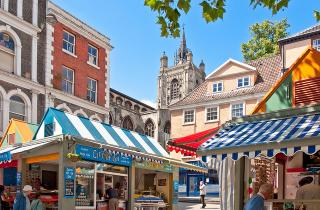Norwich market and medieval church