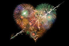 Firework in the shape of a heart