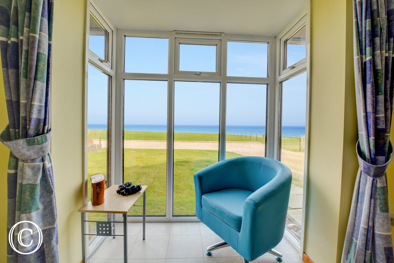 Views to the sea from the sitting room.