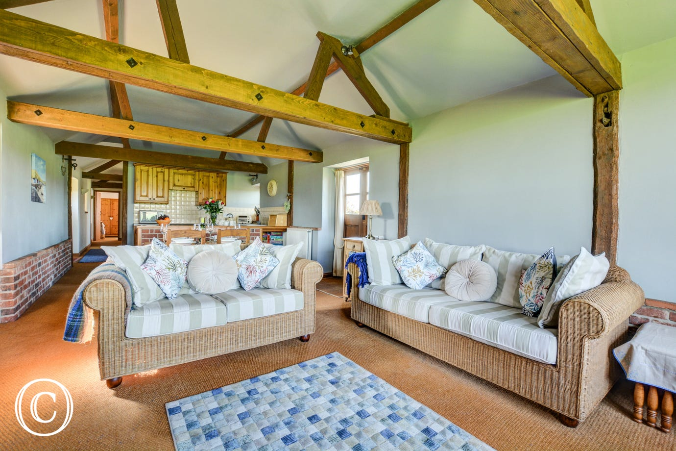 Pleasantly furnished with comfortable seating and lovely exposed beams
