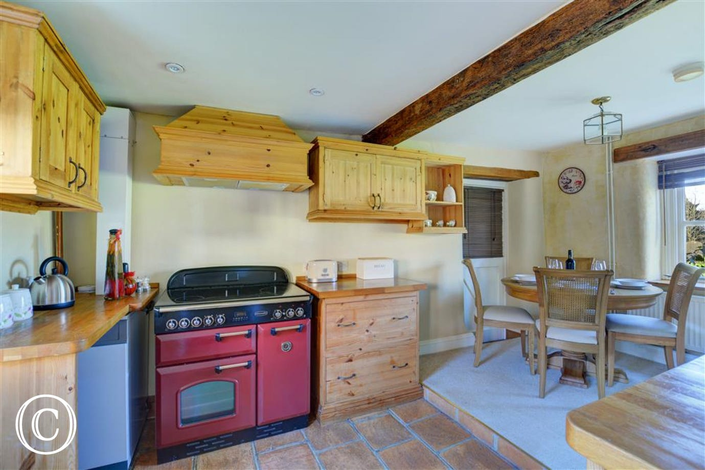 Well equipped kitchen with electric range cooker