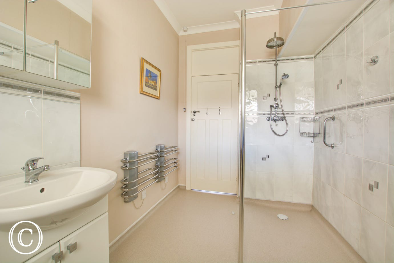 Wet Room with shower cubicle, wash basin and wc