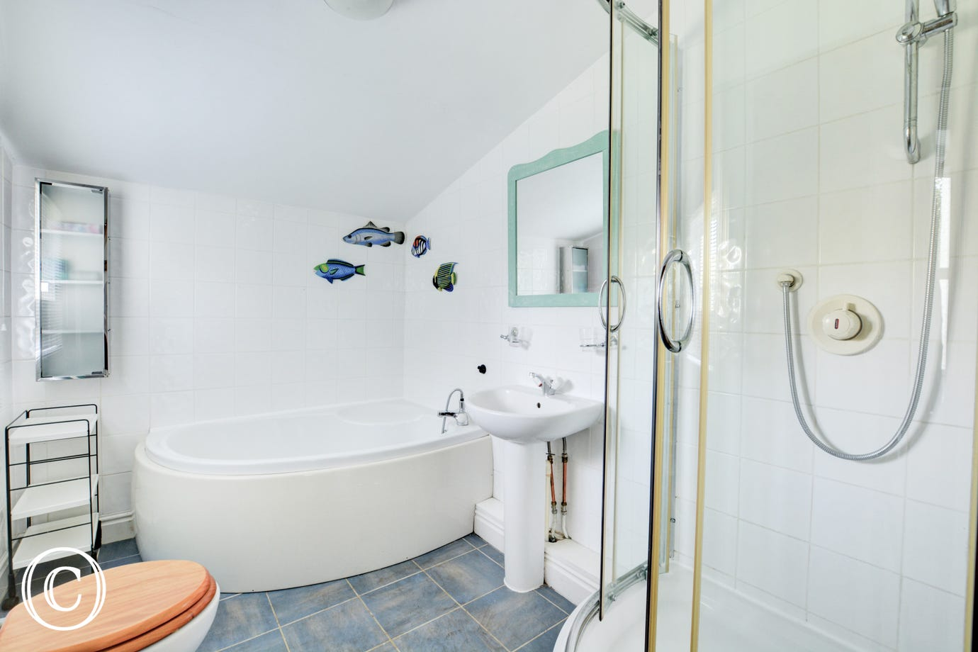 Bathroom with shower, bath, basin and wc