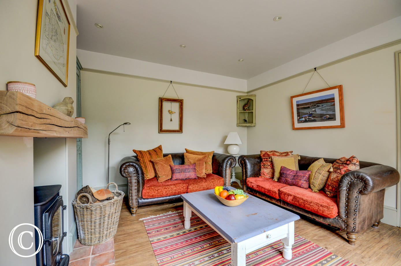 Sitting Room with comfortable seating and woodburner