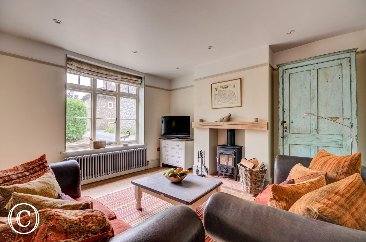 Comfortable Sitting Room with Freesat TV and wood burner
