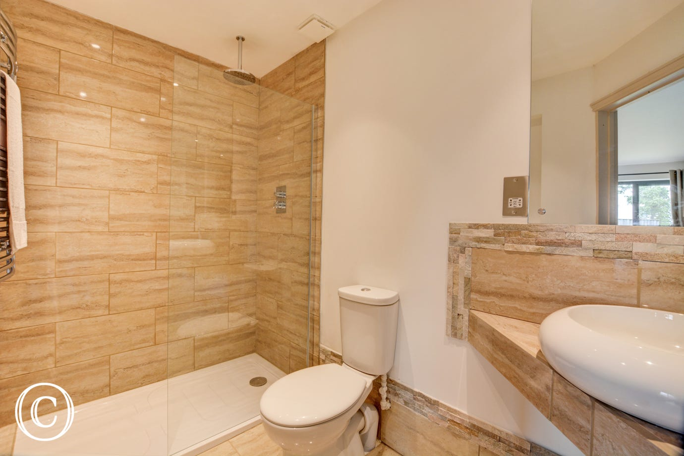Bedroom 3 En-Suite with walk in shower, washbasin and wc