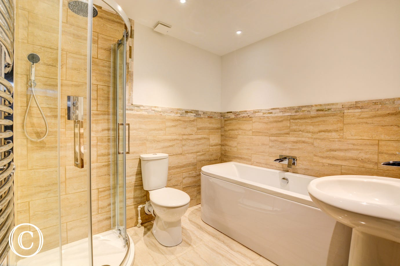 Bedroom 5 En-Suite with bath, shower cubicle, washbasin and wc