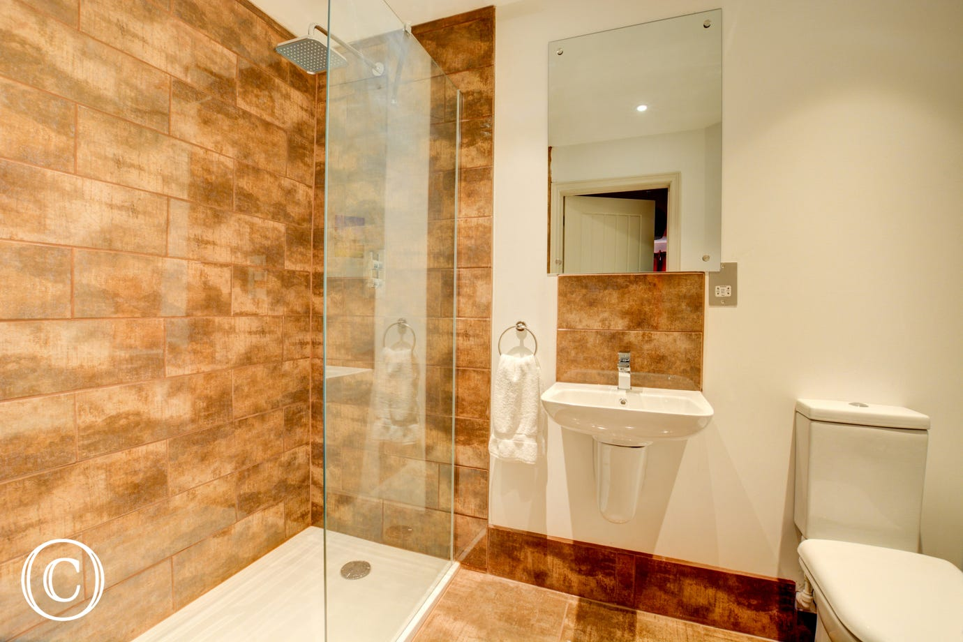 Bedroom 1 En-Suite with walk in shower, washbasin and wc