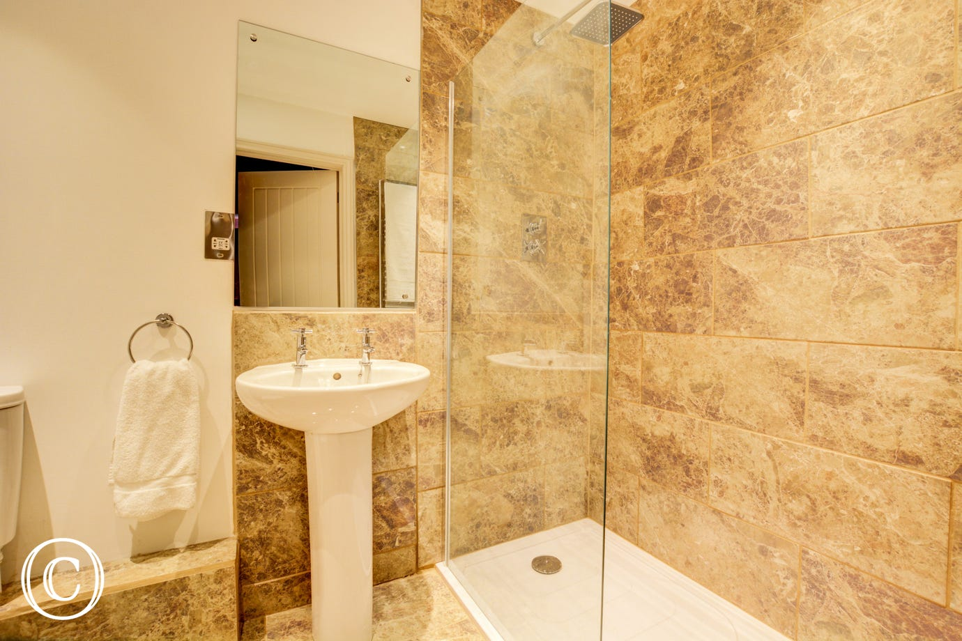 Bedroom 2 En-Suite with walk in shower, washbasin and wc