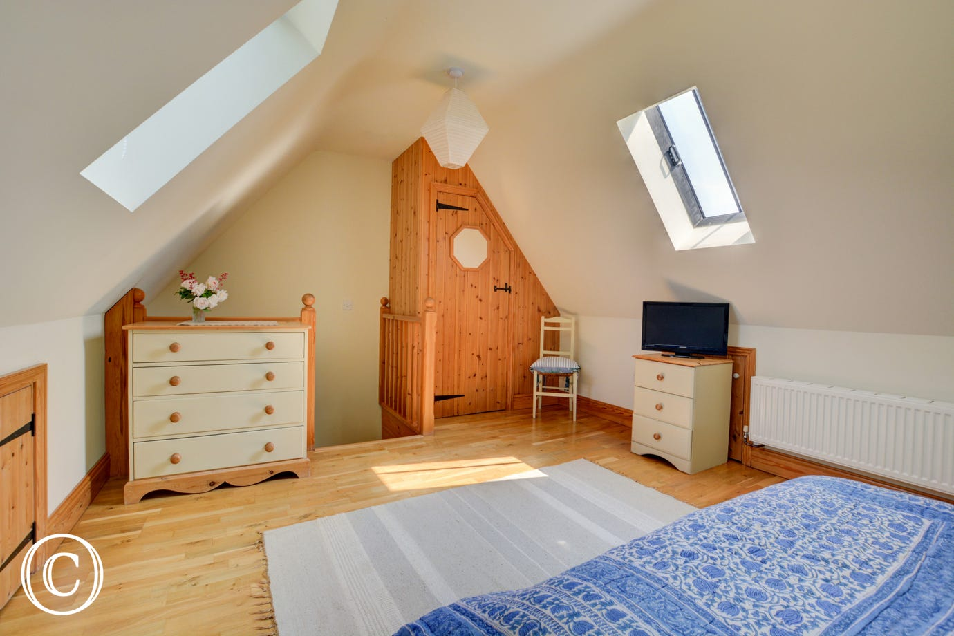 Velux windows and wooden flooring covered with a striped rug.