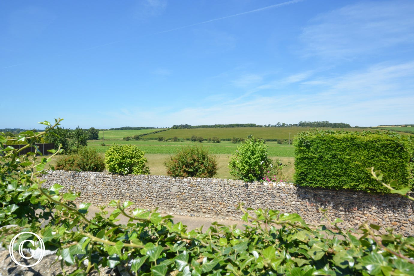 Beautiful open country views opposite the barn