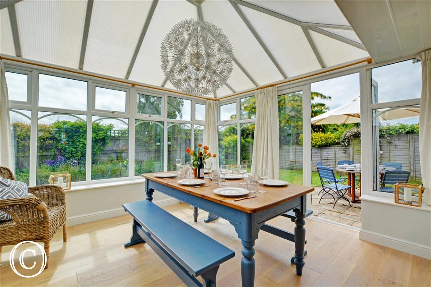 Dining table within the conservatory