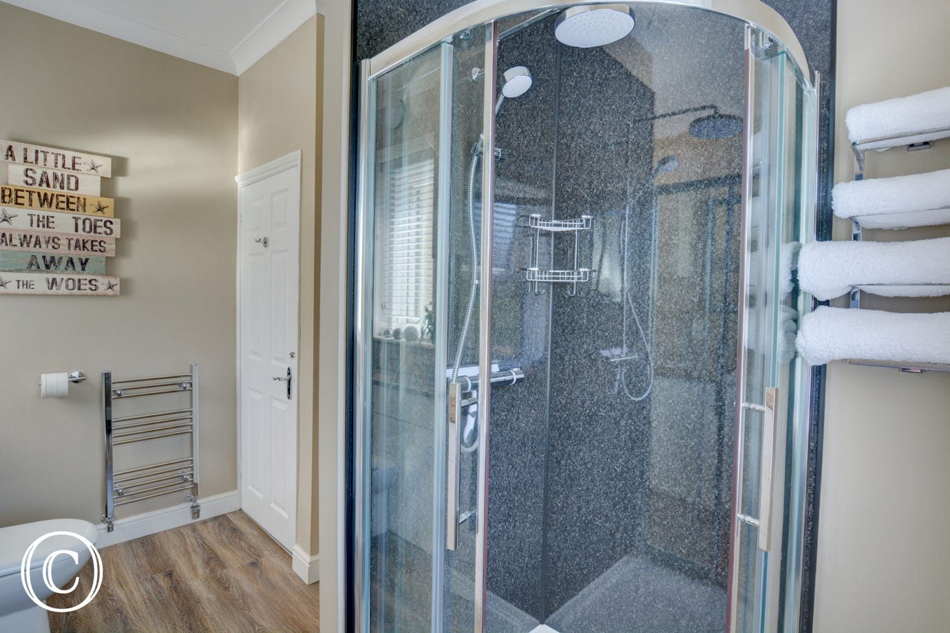 Shower Room with shower cubicle, wash basin and wc