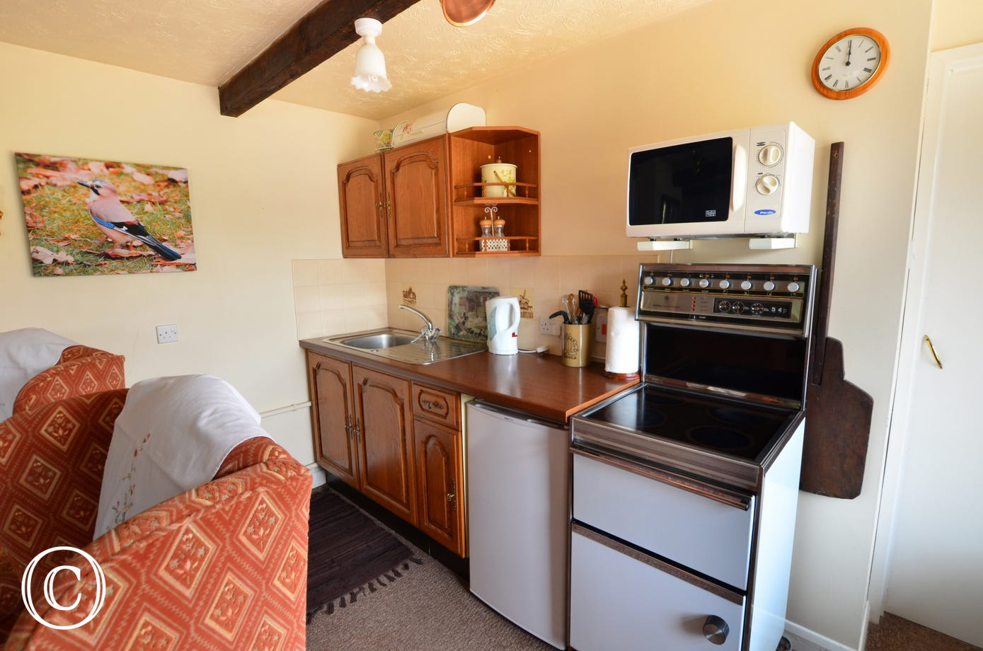 With an electric cooker, appliances and a table and chairs for dining