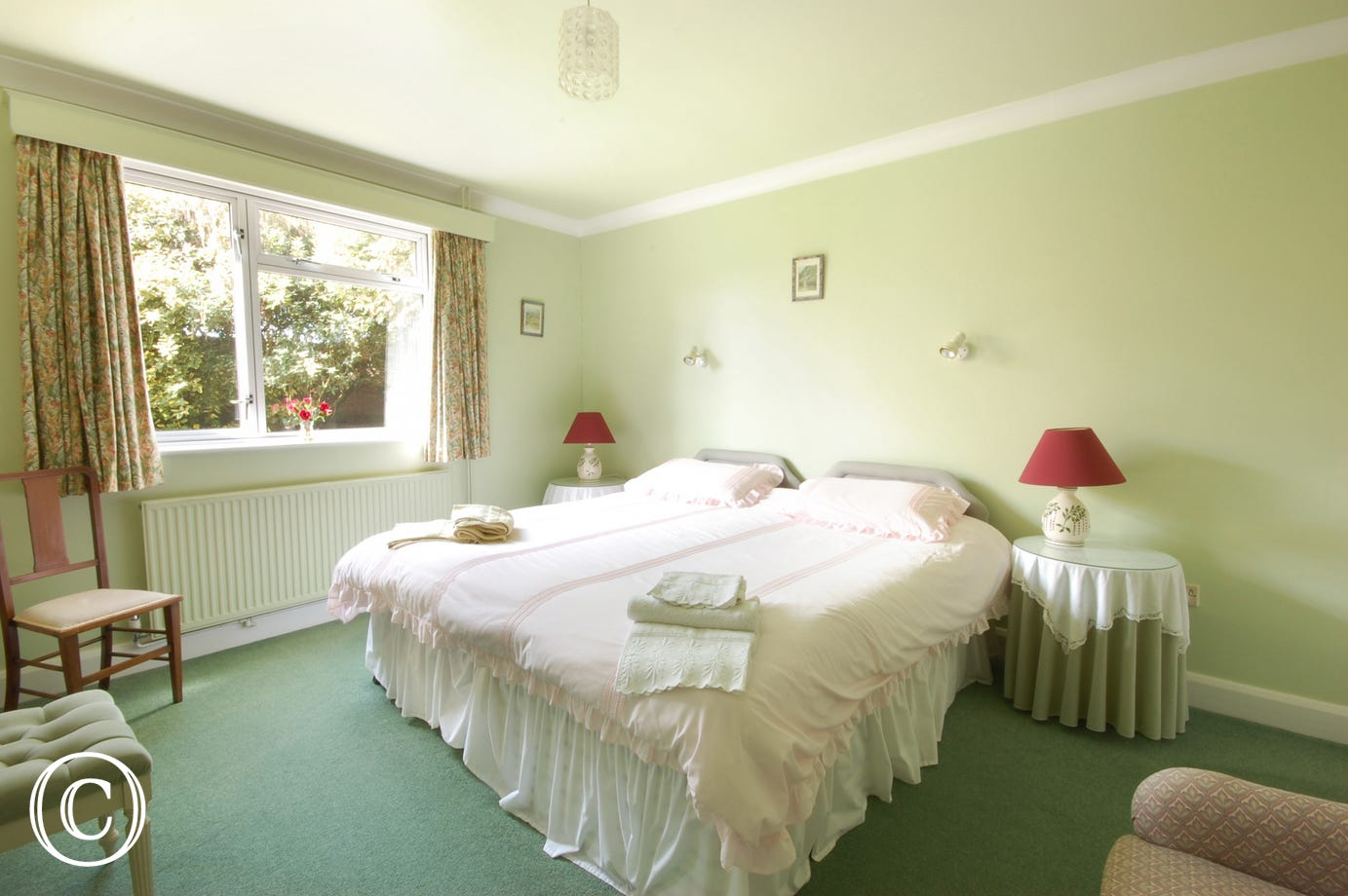 Delightful king size bedded room with ensuite shower room.