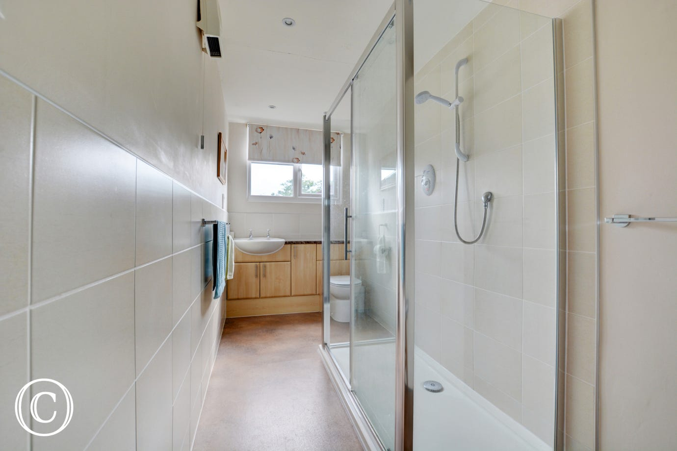 The shower room has been newly renovated with a large walk in shower