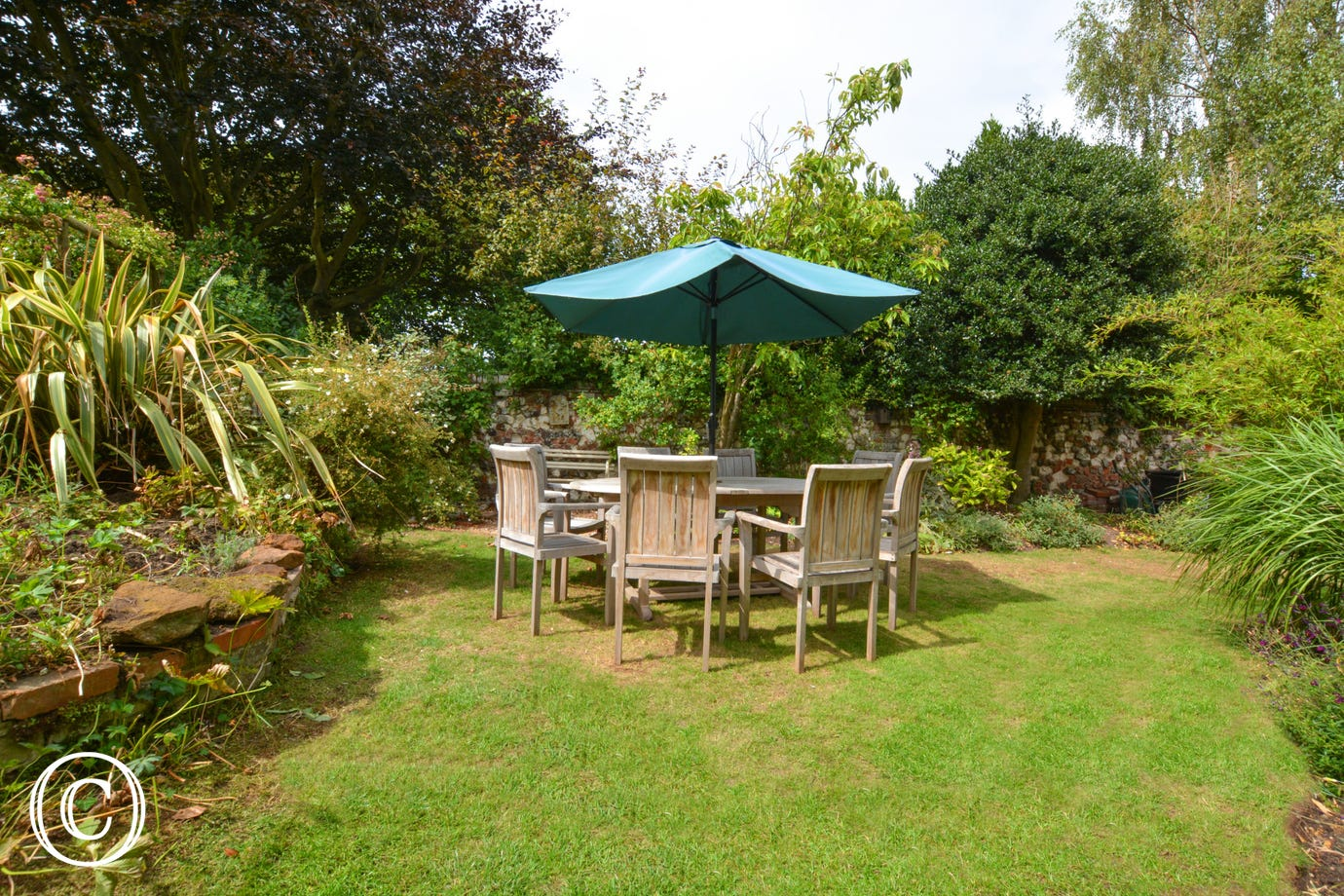 Garden with garden furniture