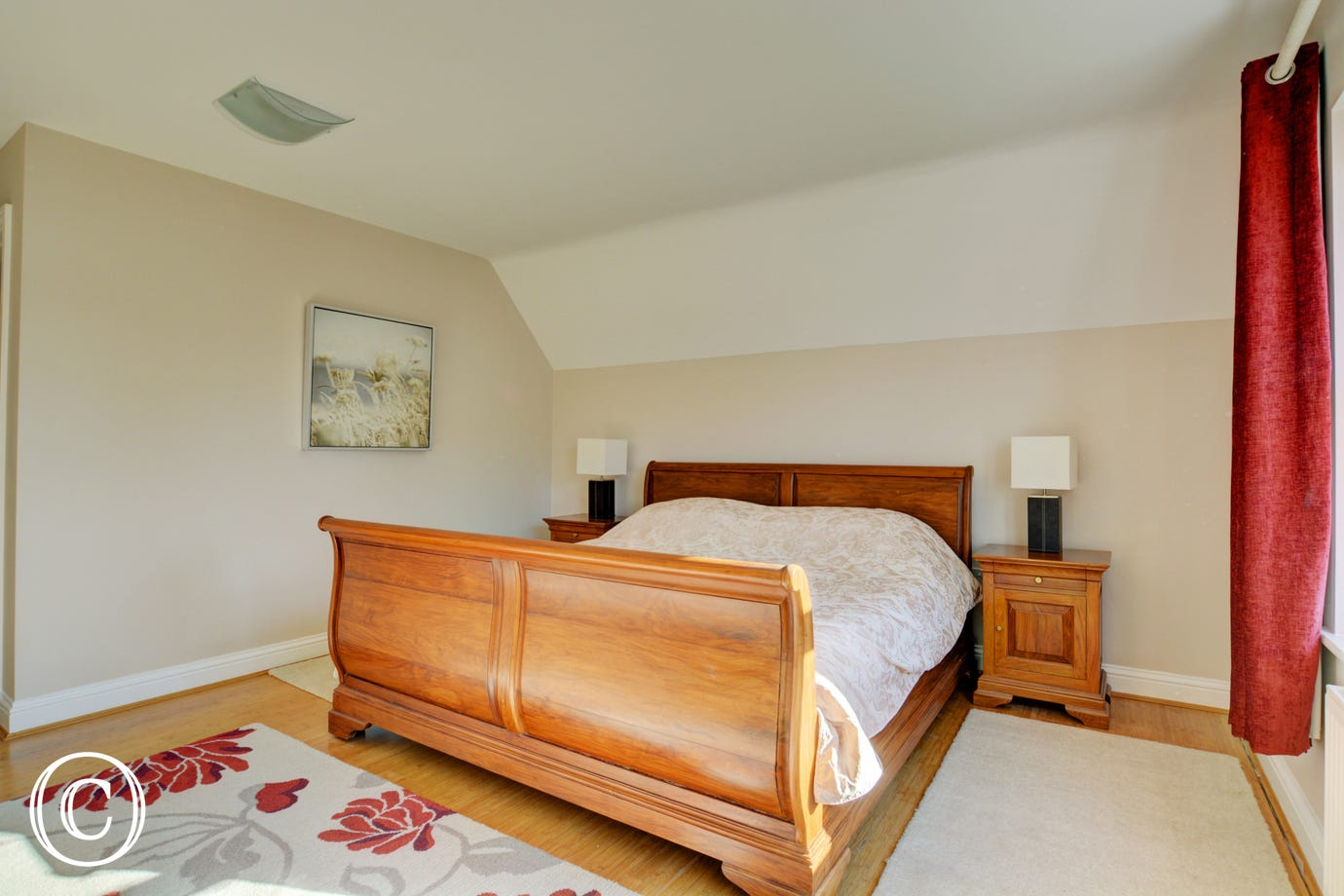 Charming first floor Master Bedroom with a 6ft sleigh bed and en-suite shower room with shower cubicle