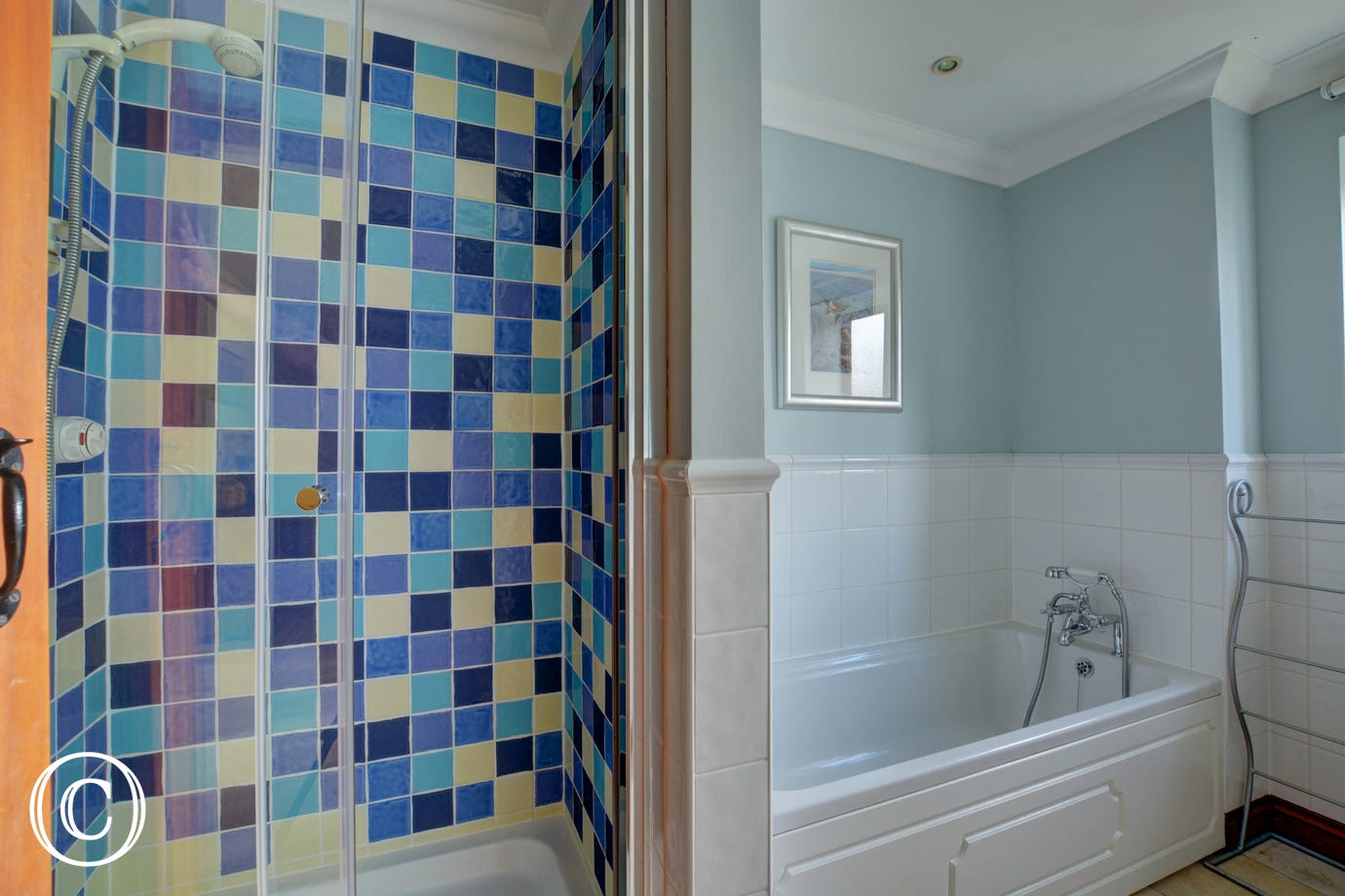 Large modern family bathroom with a seperate shower cubicle