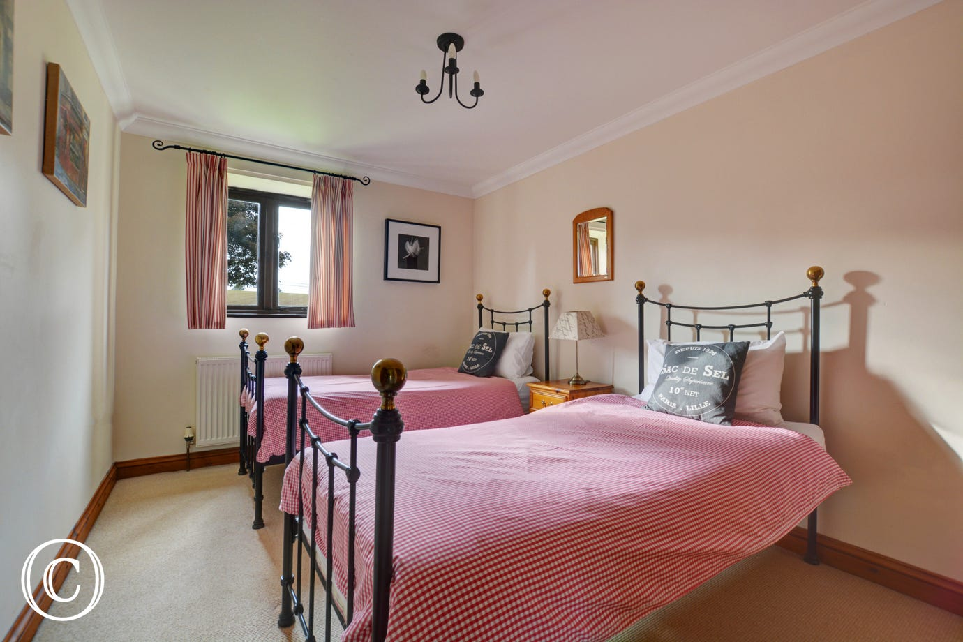 This twin bedroom has attractive iron bedsteads