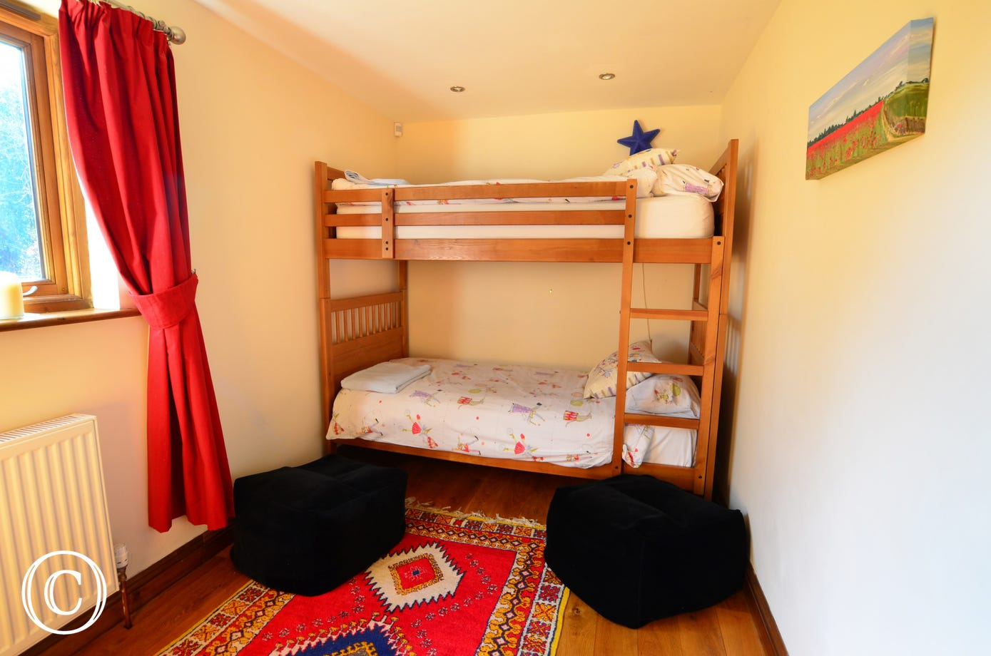 The double room is on the ground floor and has bunks beds,  bright colourful curtains and a rug, the perfect room for younger members of the family