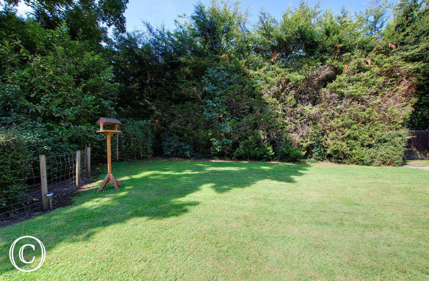 Fully enclosed rear garden with a lovely lawn and mature hedges