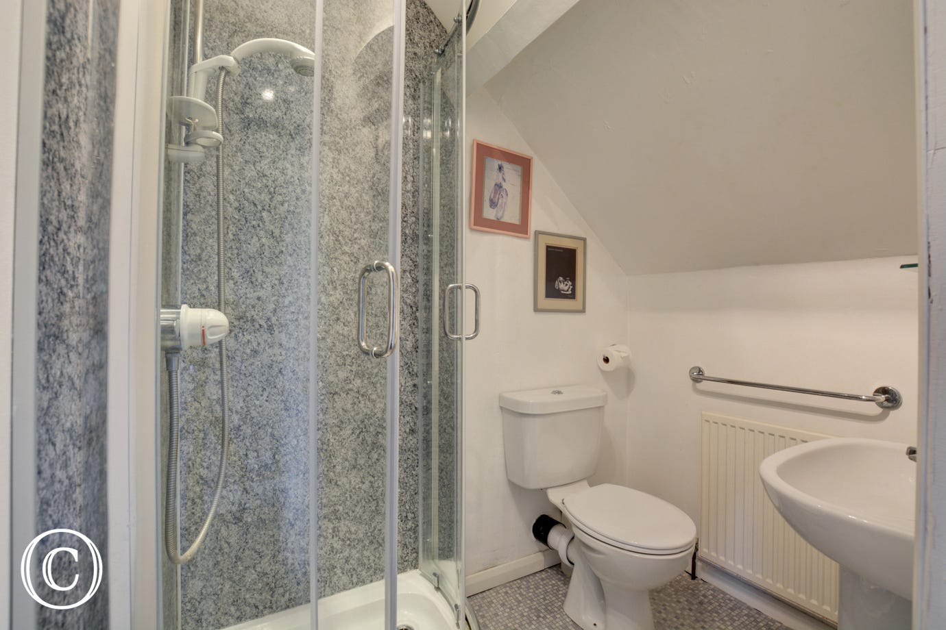 The en suite shower room with cubicle