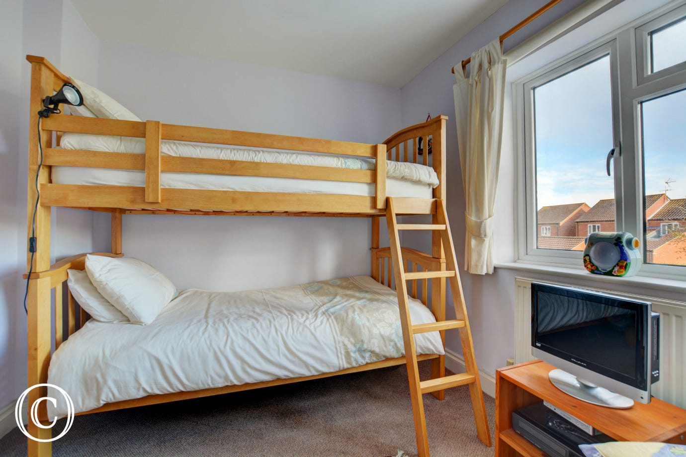 This bedroom has bunk beds, ideal for the children