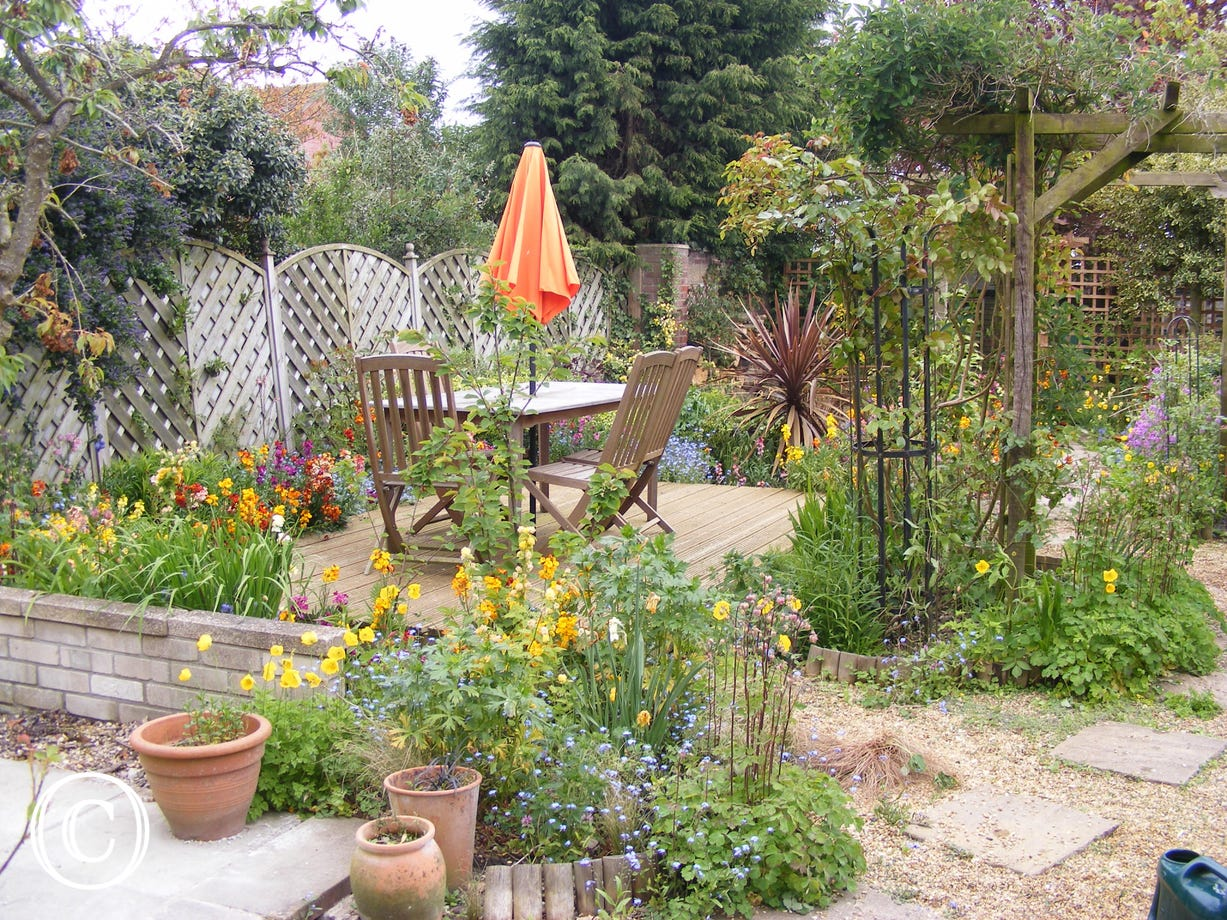 Lovely, well established garden with a seating area