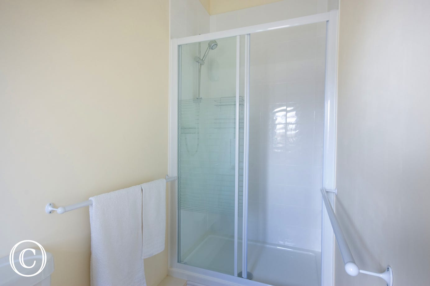 Showing the double shower cubicle