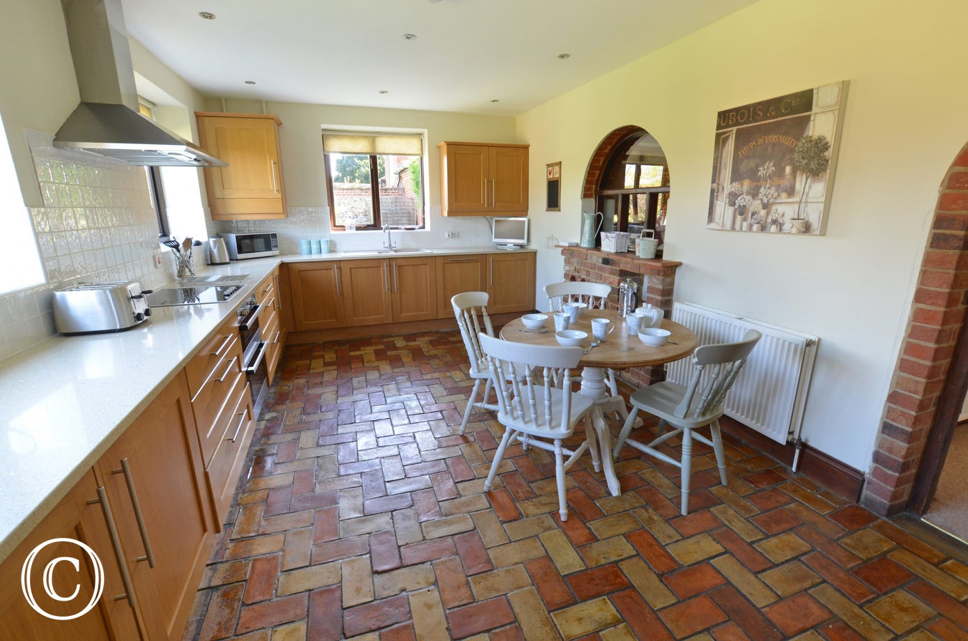 The large well appointed kitchen with modern units and plenty of worktop space