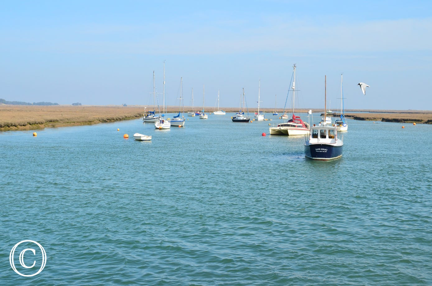Boats anchored in Wells.