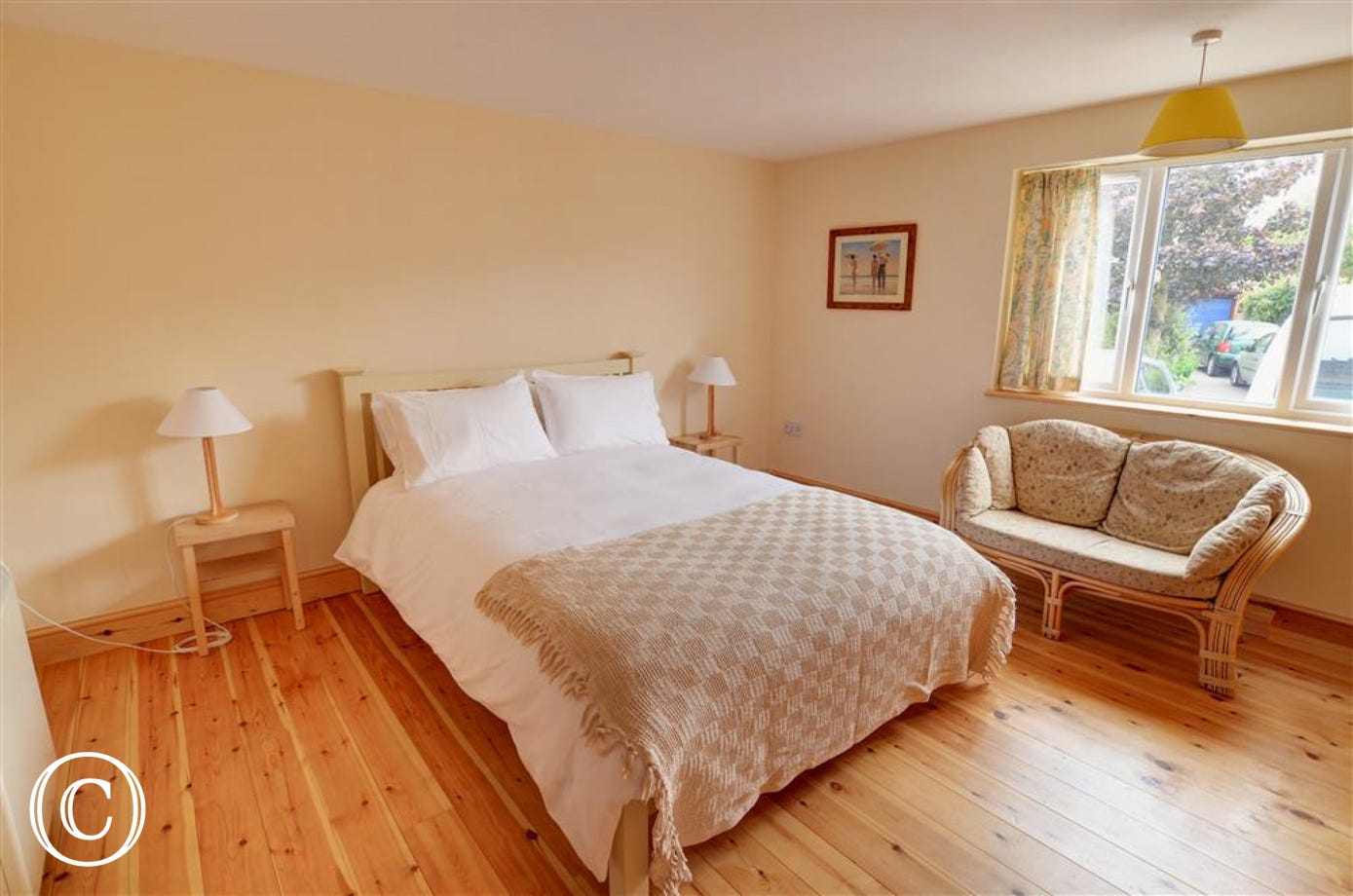 Light and airy bedroom with double bed