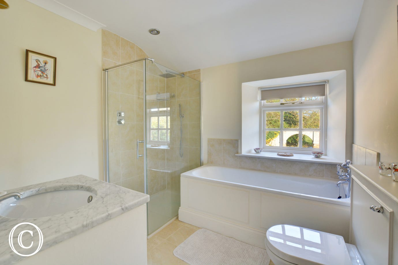 Bathroom with shower cubicle, wash basin and wc