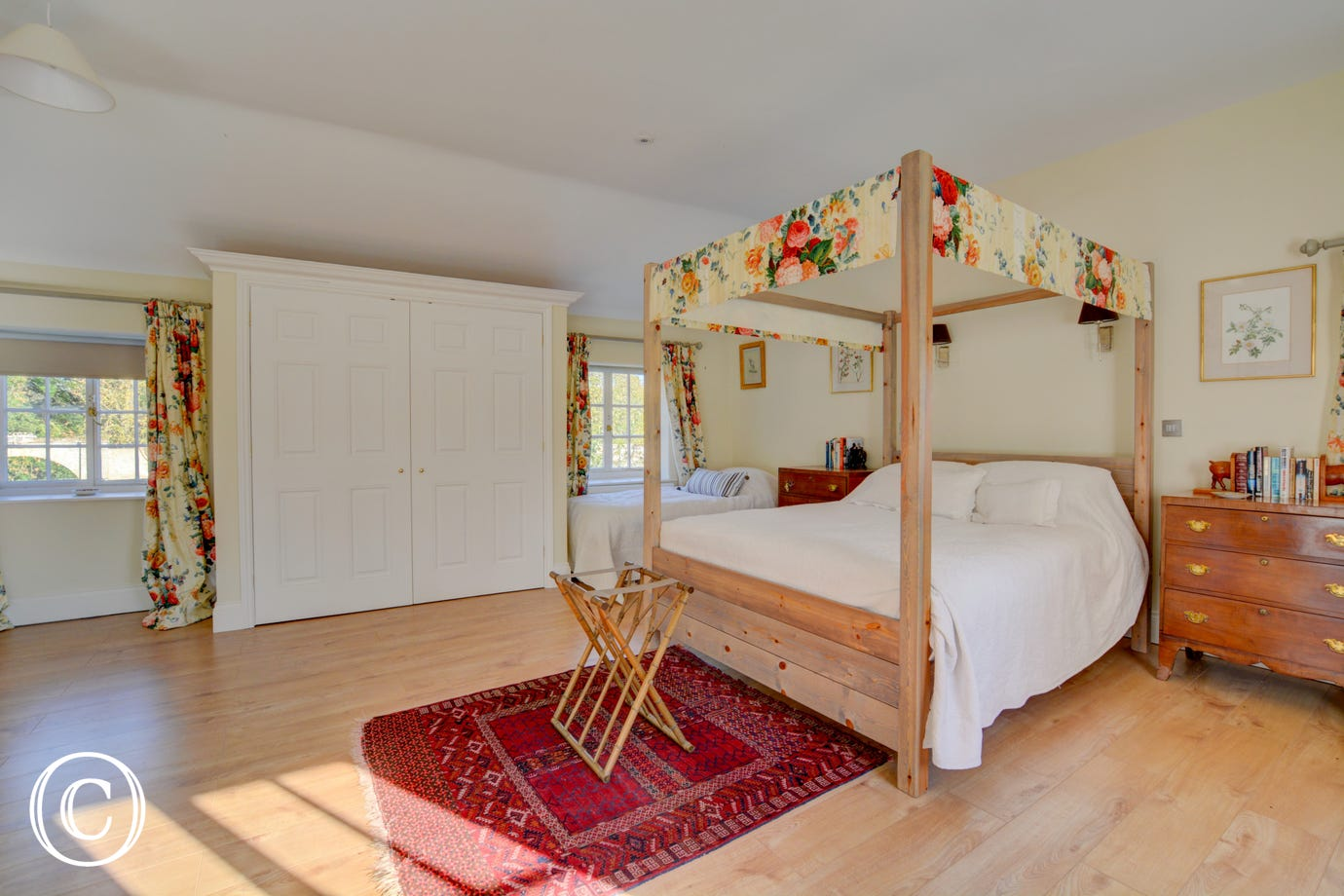Master bedroom with four post bed