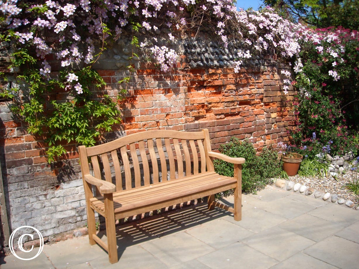 Enjoy sitting in the sun on this garden bench situated in front of a wall with a cascade of flowers.