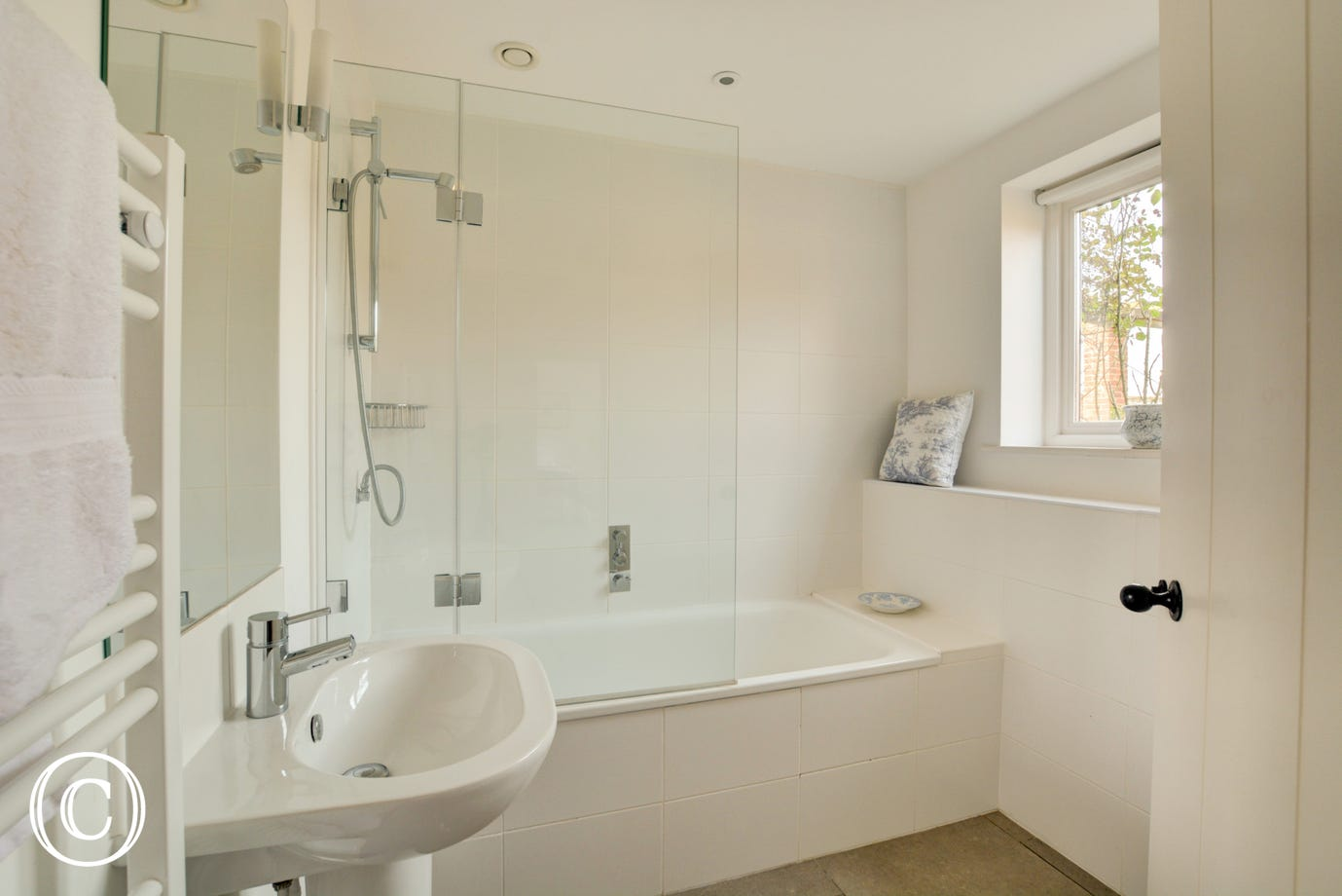 Comprising of a bath, over bath shower, wc and washbasin