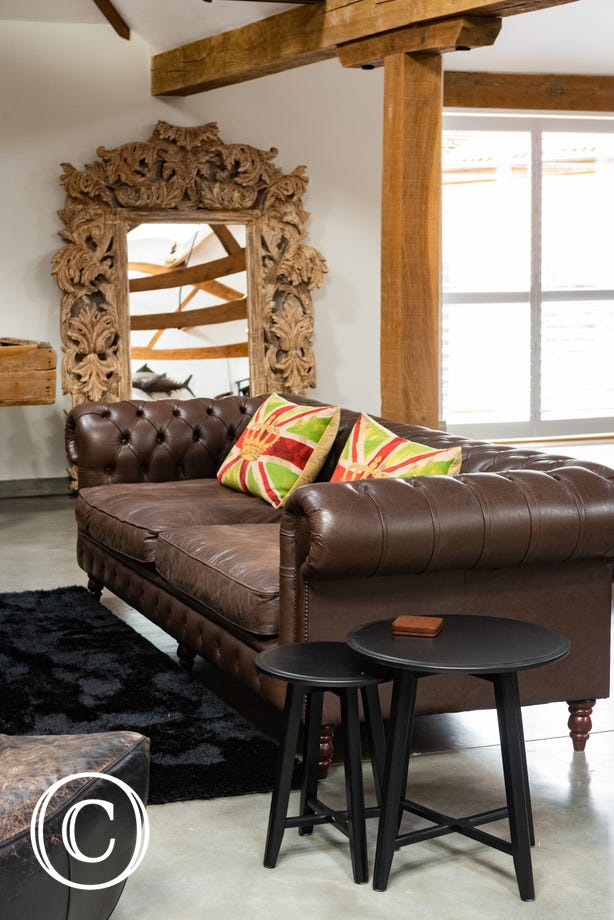 Detail of leather sofa in Living area