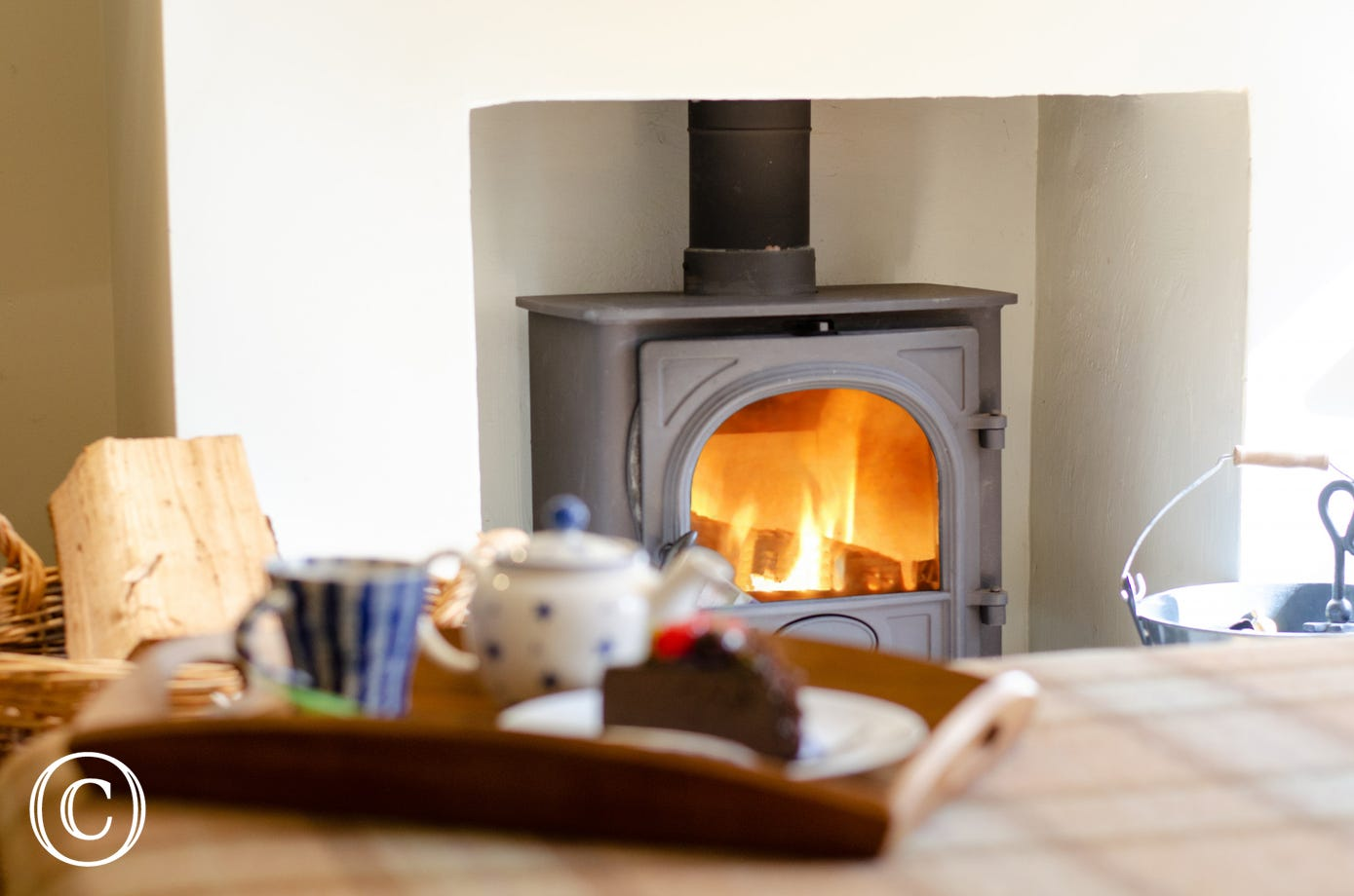 Woodburner stove in sitting room