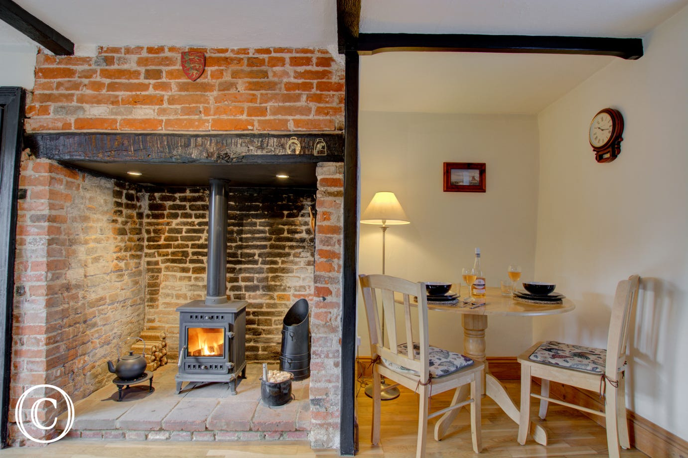 Lovely inglenook fireplace
