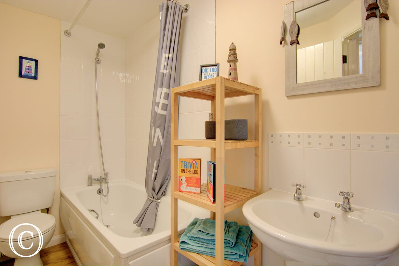 Bathroom with overhead shower