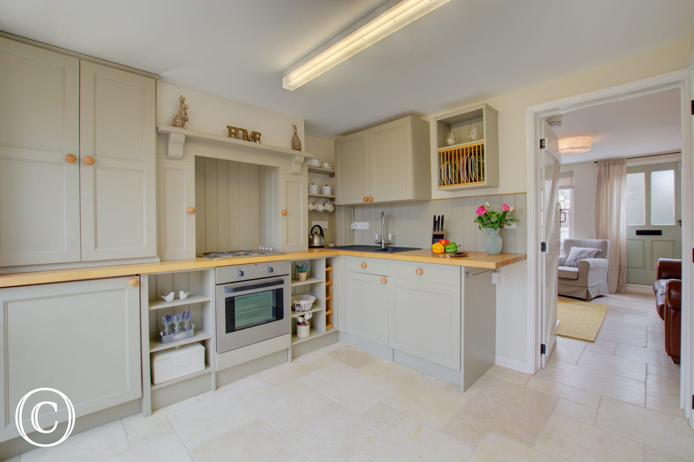 Kitchen with built in electric oven & hob