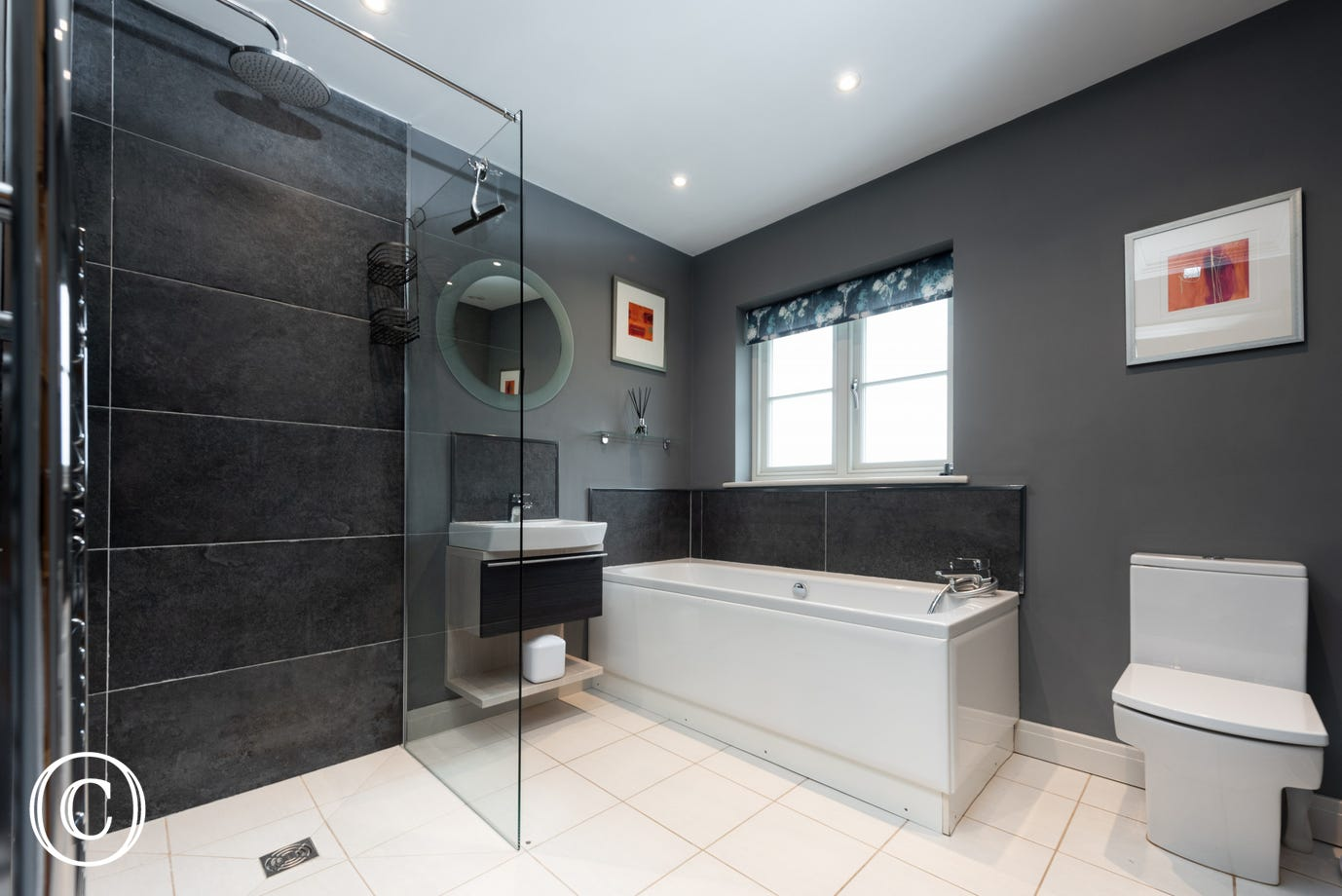 Bathroom with bath, WC, wash basin & walk-in shower