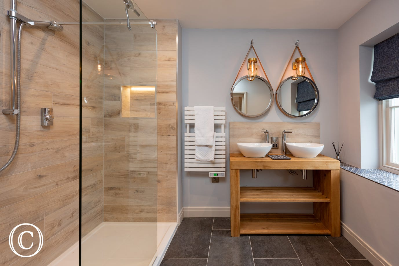 Shower Room with shower & twin wash basins