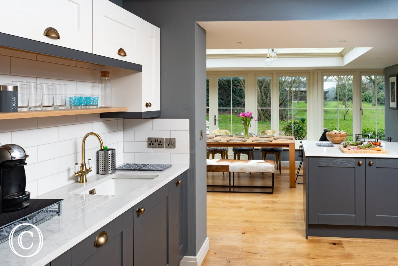 Open plan kitchen & conservatory