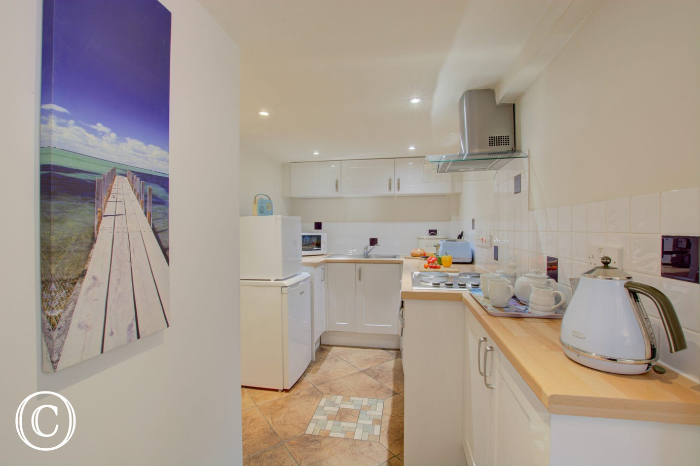 Modern Kitchen with  built-in electric oven, electric hob, fridge with icebox, microwave and washing machine