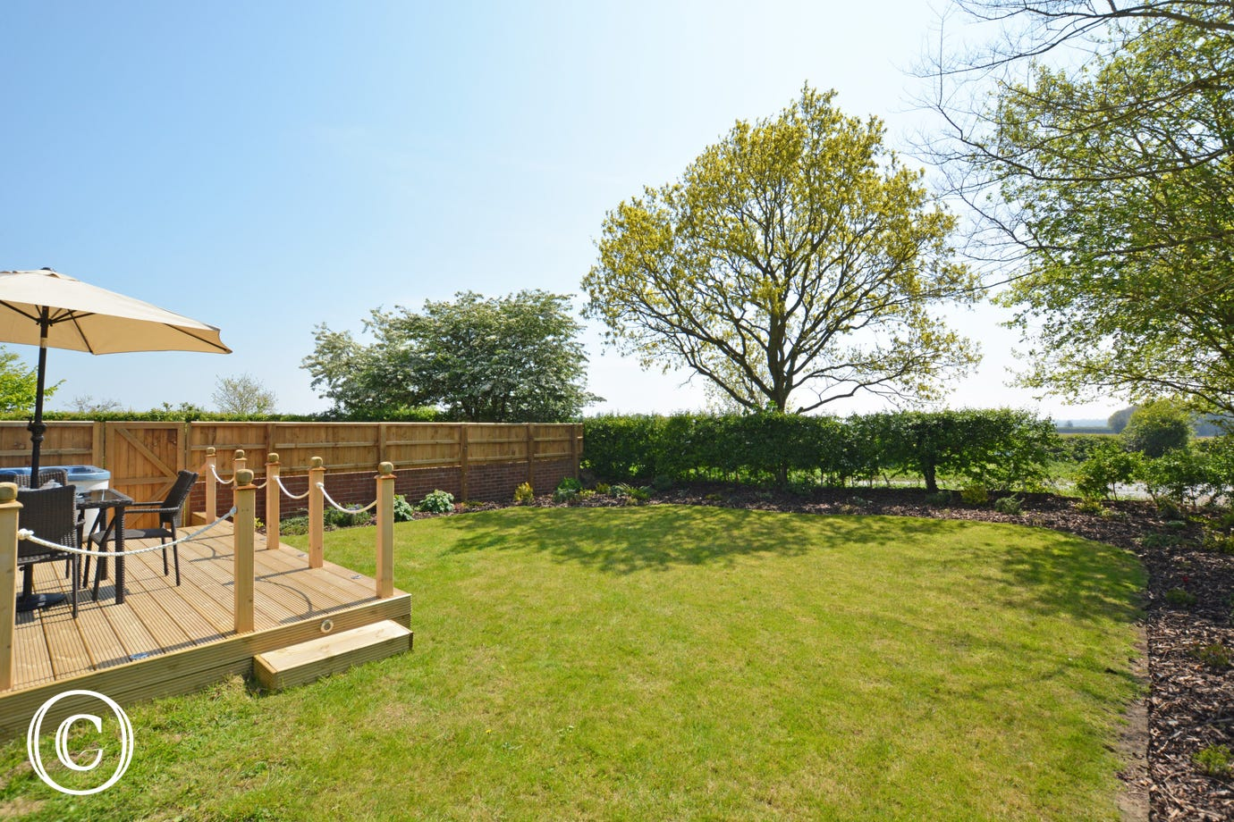 Enclosed lawn garden perfect for children to let of steam!