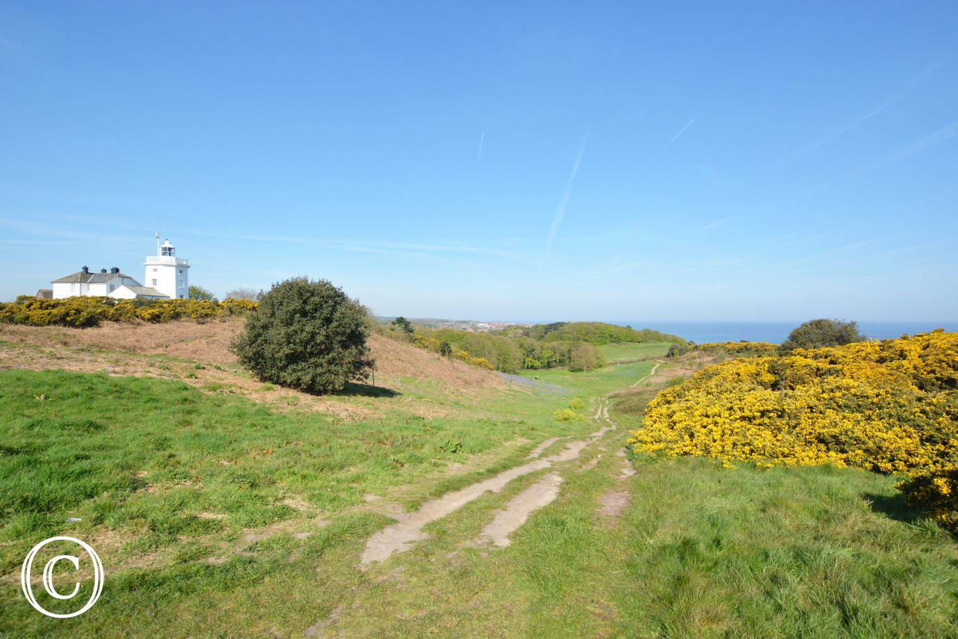 Cromer cliff top path with Lighthouse in the background